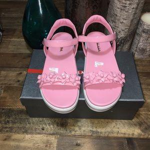 Prada Flower Embellished Patent Platform Sandals
